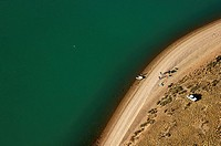 Argentina, Patagonia, aerial view of the Ria Deseado and the bank where the remains of colonial ship De Hoorn were found