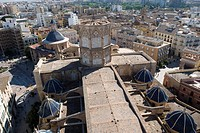 Spain - Valencia. 'La Seo' Saint Mary Cathedral, 'Catedral de Santa Maria', 13th-14th century. View from Miguelete Tower, 14th-15th century