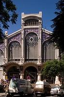 Spain - Valencia. Modernist 'Mercado Central' central market building, 1914. Facade
