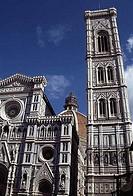 Low angle view of a cathedral, Duomo Santa Maria del Fiore, Campanile di Giotto, Florence, Tuscany, Italy