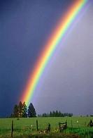 Rainbow over a ranch, Asotin County, Washington State, USA