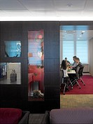 BOX LSE, CLEMENTS INN, LONDON, WC1 BLOOMSBURY, UK, DEGW PLC, INTERIOR, MEETING ROOM SEEN FROM INFORMATIONAL SEATING AREA