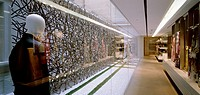 BURBERRY STORE & DESIGN STUDIO, MILAN, ITALY, VIRGILE AND STONE ASSOCIATES LTD, INTERIOR, VIEW DOWN GARDEN GLASS PARTITION