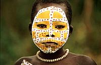 Portrait of a colorful Surma girl, Ethiopia