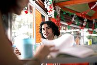 Young man in restaurant
