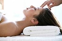 Relaxed woman getting massage