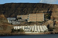 Gran Canaria, the hotels and appartments development of Taurito on the rugged volcanic mountain slopes
