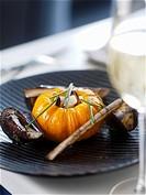 Stuffed pumpkin with mussels