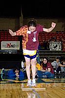 Girl doing toe kick 2006 Senior Native Youth Olympic Games Alaska Anchorage Sullivan Arena