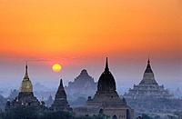 Sunset on the site of Bagan, Myanmar