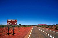 a Road in the Wild, Heading to the Ayers Rock Under Blue Sky, Australia