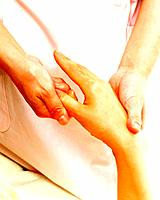 Aesthetician Who Massages Back of Woman´s Hand, Close Up