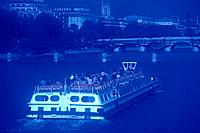 Image of a Huge Tourist Ship on the Seine River, High Angle View, Soft Focus, Paris, France