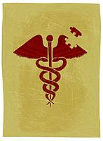 A caduceus with a puzzle piece missing from it