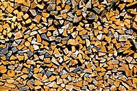 Stacked firewood, close_up.