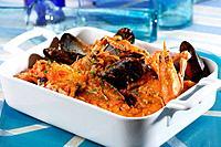 Romescada seafood or shellfish with romesco sauce