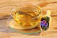 Cup of Lungwort tea, Pulmonaria officinalis