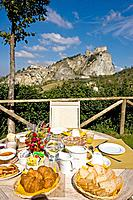 Rural tourism ´ Tenuta La Lama´, breakfast in the garden. Italy.
