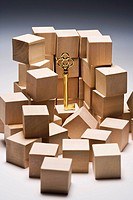 Key with cardboard boxes, close_up