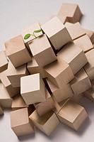 Leaf between cardboard boxes, close_up