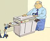 Businessman photocopying businessman