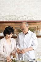 Senior Couple at the Kitchen,Korea