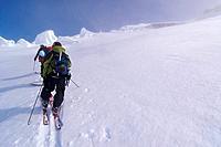 Three skiers climbing Mount Vsevidov in the Aleutian islands