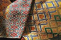 Weaving in silk. Morocco. Fes.