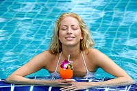 woman, young, blond, cocktail, swimmingpool,