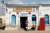 Dschibuti, Tadjoura, businesses, entrance, woman, back view, goats, Africa, East_Africa, village, buildings, house, stores, people, food, natives, Lif...