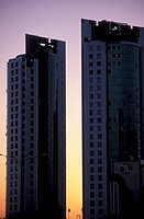 Corniche Street, buildings, sunset, Doha, Qatar, Middle East