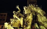Piazza Navona square, Fontana dei Quattro Fiumi fountain, sculptures , Rome, Italy, Europe