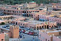 Morocco, Tinerhir, city view, Africa, North_Africa, city, desert_city, houses, buildings, clay_construction_manner, architecture, cars, parking place,...