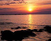 Sunset over the Saint-Lawrence River. Gaspesie. Quebec. Canada