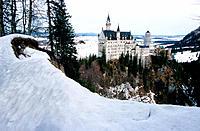 Neuschwanstein Castle seen from Theresenbrücke in winter. Bavaria. Germany