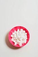 Bowl of sugar cubes