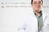 Scientist with formula