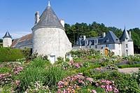 Garden in front of castle, Chateau De La Chatonniere, Azay_Le_Rideau, Indre_Et_Loire, France