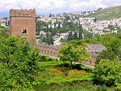 Palace overlooking city, Alhambra, Granada, Andalusia, Spain