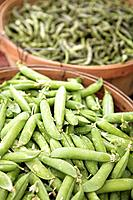 Peas and beans in baskets