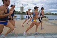 Triathloners Running