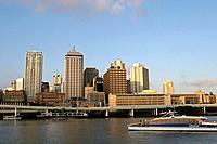The business center of Brisbane along the Brisbane river Queensland Australia