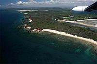The north west coast around the village of Anjajavy seen from a small cessna