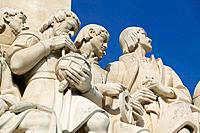 Monument to the Discoveries Padrao dos Descobrimentos view of figures of explorers Belem Lisbon Portugal