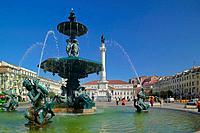 Rossio Square Praca Dom Pedro IV with fountain and statue Baixa Lisbon Portugal