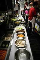 Interior of restaurant kitchen.