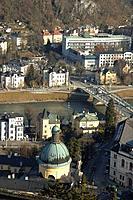 View of St. Kajetan´s church from Hohensalzburg Fortress. Salzburg. Austria