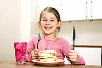 Girl with pancakes