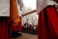 Benediction of the carts, Close_up of ministrants, Bad Toelz, Bavaria, Pfarrer und Messdiener bei der Segnung der Fuhrwerke, Segnung auf dem Kalvarien...