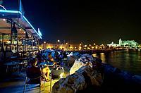 People sitting in a bar, Varodero Bar, Mallorca, Majorca, Spain